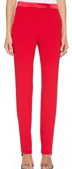 Bright red skinny fit pants
