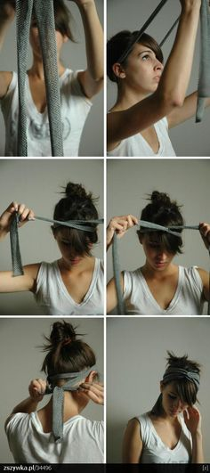 If the tie/fabric was a bit shorter so that the bow was smaller I would LOVE it!! DIY Headband <3