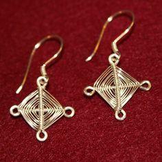 Gods Eyes Sterling Silver Cross Earrings