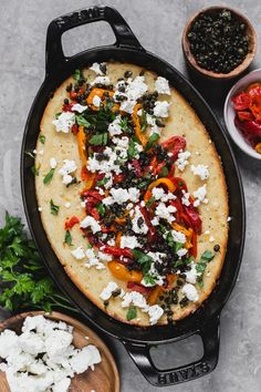 Spoon Bread with Feta, Roasted Red Peppers and Fried Capers