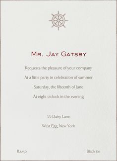 """""""Ship Wheel"""" Invitation, by Thornwillow, Paperless Post"""