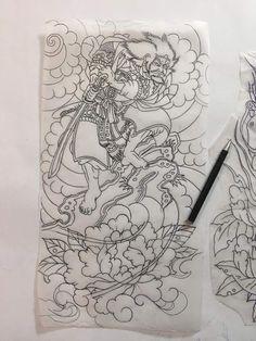 Japanese Tattoo Art, Japanese Sleeve Tattoos, Japanese Art, Samurai Drawing, Samurai Tattoo, Asian Tattoos, Japan Tattoo, Back Tattoo, Skull Art