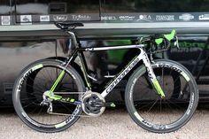 Pro bike: Peter Sagan's Cannondale SuperSix Evo Hi-Mod | Road Cycling UK - Peter Sagan's Cannondale SuperSix Evo Hi-Mod (in its 2014 team issue livery) propped up against the Cannondale Pro Cycling mechanics truck
