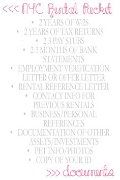 NYC Living :: So You Want to Move to NYC :: Paperwork