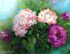 Petite Garden Pink Peonies - Flower Paintings by Nancy Medina -- Nancy Medina
