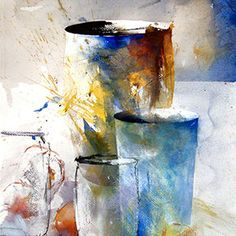Jars and Urn - Lars Eje Larsson - watercolor Watercolor Artists, Abstract Watercolor, Watercolor Paintings, Abstract Art, Watercolors, Pinturas Em Tom Pastel, Art Texture, Still Life Art, Painting Inspiration