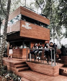 Located in the heart of Jakarta, it's inside the Ministry of Environment and Forest. But I could easily fool you thinking it was in Bandung… Cafe Shop Design, Coffee Shop Interior Design, Restaurant Interior Design, Coffee Design, Small Coffee Shop, Coffee Shop Bar, Container Coffee Shop, Mini Cafe, Forest Cafe