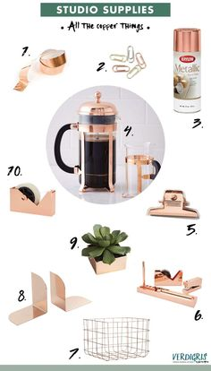 Copper office supplies roundup by Erika Firm