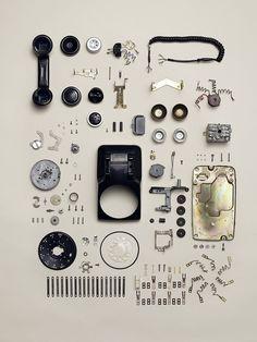 Disassembly Series by Todd Mclellan - rotary phone Henn Kim, Nam June Paik, Things Organized Neatly, Blog Fotografia, Coming Apart, Old Phone, Take Apart, Deconstruction, Grafik Design