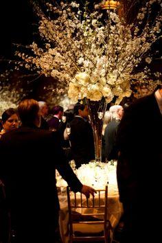 Stunning Winter White Wedding at Cipriani Street Branch Centerpieces, Floral Centerpieces, Wedding Centerpieces, Tall Centerpiece, Floral Wedding, Fall Wedding, Wedding Flowers, Dream Wedding, Fall Flowers