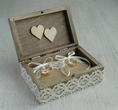 """Wedding ring box in rustic style with jute and lace. A ring box is a alternative to a ring pillow. The pillow can be removed and you can have a keepsake box. I can put """"liebe"""",""""ewig uns"""", """"amore"""",..."""