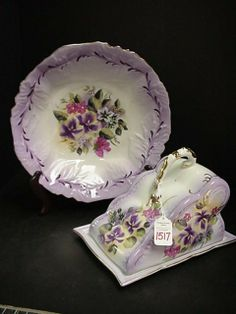 Hand Painted Prussia Porcelain Bowl & Covered Cheese dish