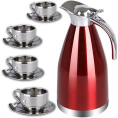 Amazon.com | Coffee Tea Thermal Carafe Kettle Set by Chefcoo™ Includes Pitcher, 4 Cups (4 oz.) Saucers and Spoons - Double Wall for Hot and Cold Beverages - Holds Temperature for Longer - Red & Silver Color: Carafes & Pitchers