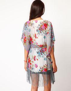 Glamorous Floral Fringe Kimono