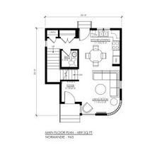 Contemporary Normandie-945 - Robinson Plans 20x30 House Plans, New House Plans, Dream House Plans, Small House Plans, House Floor Plans, Home Building Design, Home Design Plans, Building A House, Simple House Design