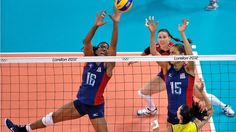 United States' Foluke Akinradewo tries to block a spike from Brazil's Sheilla Castro as United States' Logan Tom and Nicole Davis look on during a women's gold medal volleyball match at the 2012 Summer Olympics. Usa Volleyball, 2012 Summer Olympics, Team Usa, Southern California, Athletes, Logan, United States, Sports, Gold