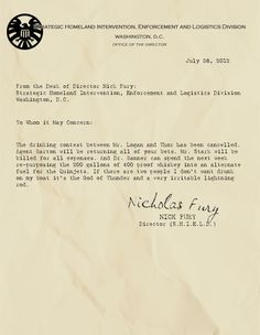 From the desk of Nick Fury, re: drinking contest