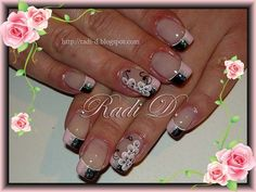 Black~Pink French by RadiD from Nail Art Gallery French Acrylic Nails, French Tip Nails, Hair And Nails, My Nails, Flower Nails, Nail Flowers, Beautiful Nail Designs, 3d Nail Art, Nail Art Galleries