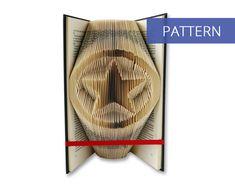 Folded Book Art Pattern - Military Star - 175 Folds - Including manual - Bookfolding Pattern - Folded Book Pattern - Book Folding pattern