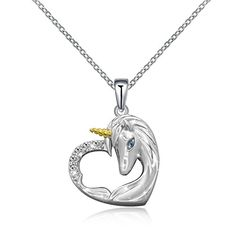 243415d99 ACJNA 925 Sterling Silver Unicorn Pendant Necklace Gifts for Girls Women