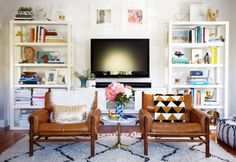 Chairs in front of TV.