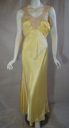 1940s Yellow Rayon Nightgown, 36, Artemis