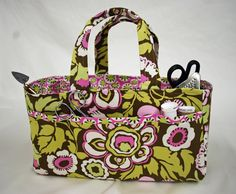 Sewing Caddy - Free PDF Tutorial by Gina Allen - Perfect little tote bag to take notions and sewing and quilting tools to class at the fabric store!