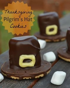 Thanksgiving Pilgrims Hat Cookies - Use Little Debbie swiss rolls cut in half in stead of marshmellows.  Also, there is a ceral that looks like a belt buckle - find and dip in yellow almond bark...