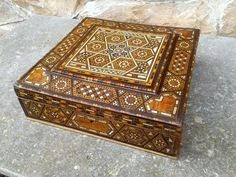 Vintage Micro Mosaic Inlaid Marquetry Wooden Box Syria Style