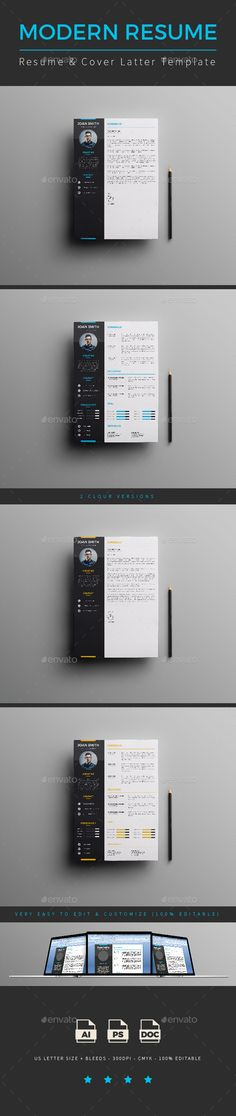 Resume Bundle 3 in 1 Template, Ai illustrator and Typography design - size font for resume