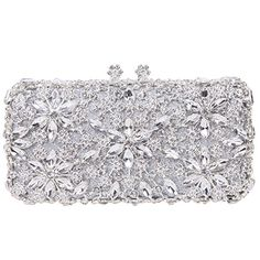 Fawziya Bling Kiss Lock Baguette Purse Rhinestone Crystal Flower Clutch BagSilver * Check this awesome product by going to the link at the image.