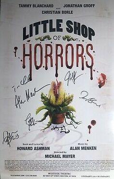 Alan Menken + Cast Signed LITTLE SHOP OF HORRORS Off Broadway Poster Groff | eBay