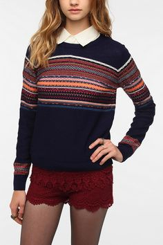 Pins and Needles Reverse Fair Isle Sweater  #UrbanOutfitters