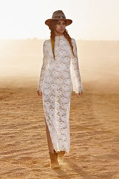 Peekaboo lace boho-style wedding dress.