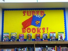 Superhero books display