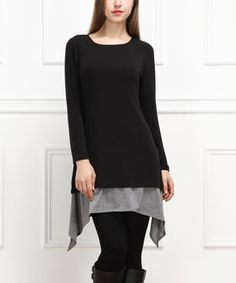 Another great find on #zulily! Black & Gray Layered Sidetail Tunic by  #zulilyfinds