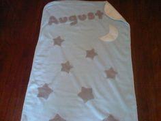 Fleece Baby Blanket: Lt Blue Cream Stars w/ Moon
