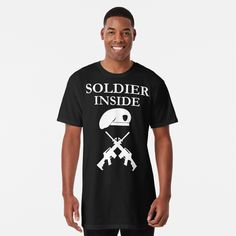 'Soldier Inside - ready for war - ' Long T-Shirt by RIVEofficial Tshirt Colors, Soft Fabrics, Custom Design, Shirt Designs, Trends, Cotton, Mens Tops, T Shirt, Stuff To Buy