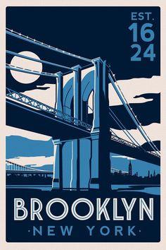 Brooklyn Bridge New York City skyline Vintage Retro Silk Screen Printed Poster - Etsy on Etsy, £15.27