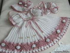 Crochet Baby Dress International Crochet Patterns, lovely heirloom style baby d. Crochet Baby Dress Pattern, Baby Dress Patterns, Baby Girl Crochet, Crochet Baby Clothes, Crochet For Kids, Free Crochet, Knit Crochet, Crochet Summer, Booties Crochet