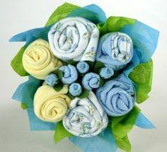 Baby Onesie Bouquet (2 short sleeve onesies; Bib; pair soft baby booties; pair scratch mittens; hat; washcloth)