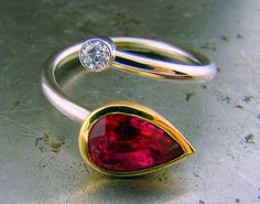 Pink, Pear-Shaped Tourmaline Ring