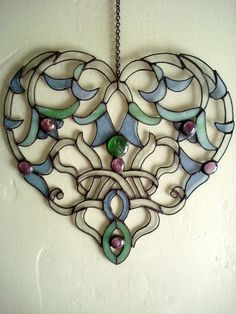 Glass Lace Heart  Stained Glass Suncatcher  by hollyannkelly