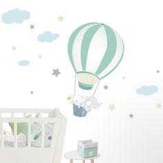 Nursery Wall Decals, Nursery Room, Wall Murals, Baby Boy Rooms, Baby Room, Polymer Clay Elephant, Room Wallpaper, Kids Room, Balloons
