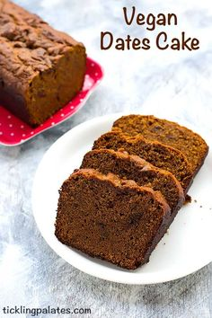 Eggless Dates Cake Recipe - Soft and moist Vegan Dates Cake as it has no milk, butter or eggs and baked with whole wheat flour and a water base.