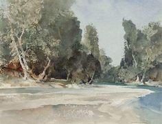 Sir William Russell Flint (1880 — 1969. UK) On the Drôme, near Saillans. watercolour. 10 ¼ x 13 ½ in. (26 x 26.8 cm.)