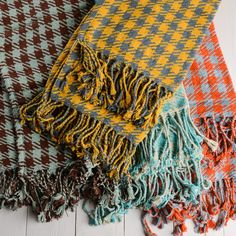 New Arrivals at Bella Vita! Twill Houndstooth Cotton Throw Blankets-Grab a good book and snuggle up in our fun and funky throw blankets. The versatile size makes them ideal for a sofa or armchair and the array of colors will allow you to choose specifically for your decor.