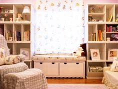 This classic white kid's room is based on the nursery rhyme Peter Rabbit. The fabrics, paint colors and accessories reinforce this fanciful theme. White built-in shelving provides ample storage for books and toys.