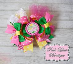 Pink Lemonade Stacked Twisted Boutique Bow - Pink and Yellow Boutique Bow - Mommy's Girl Over the Top Bow (Item #10043)