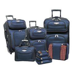 8 Piece Luggage Set Navy Blue Base Amsterdam Traveler Choice New Free Shipping #TravelersChoice